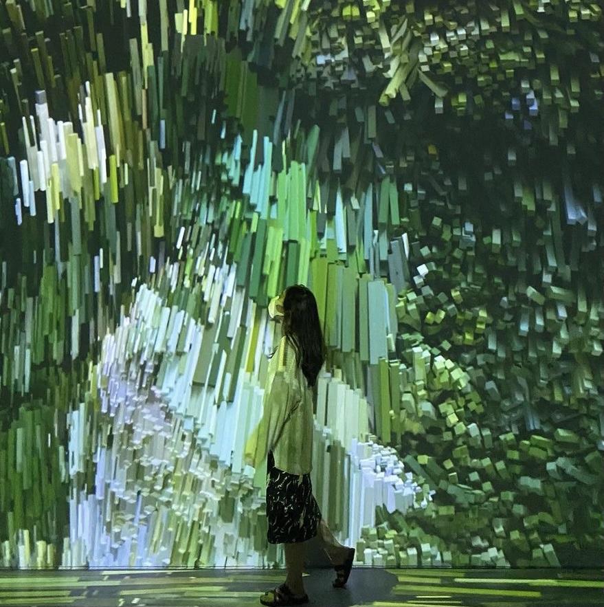 초록색과 깨진 듯한 화면이 특징이다.