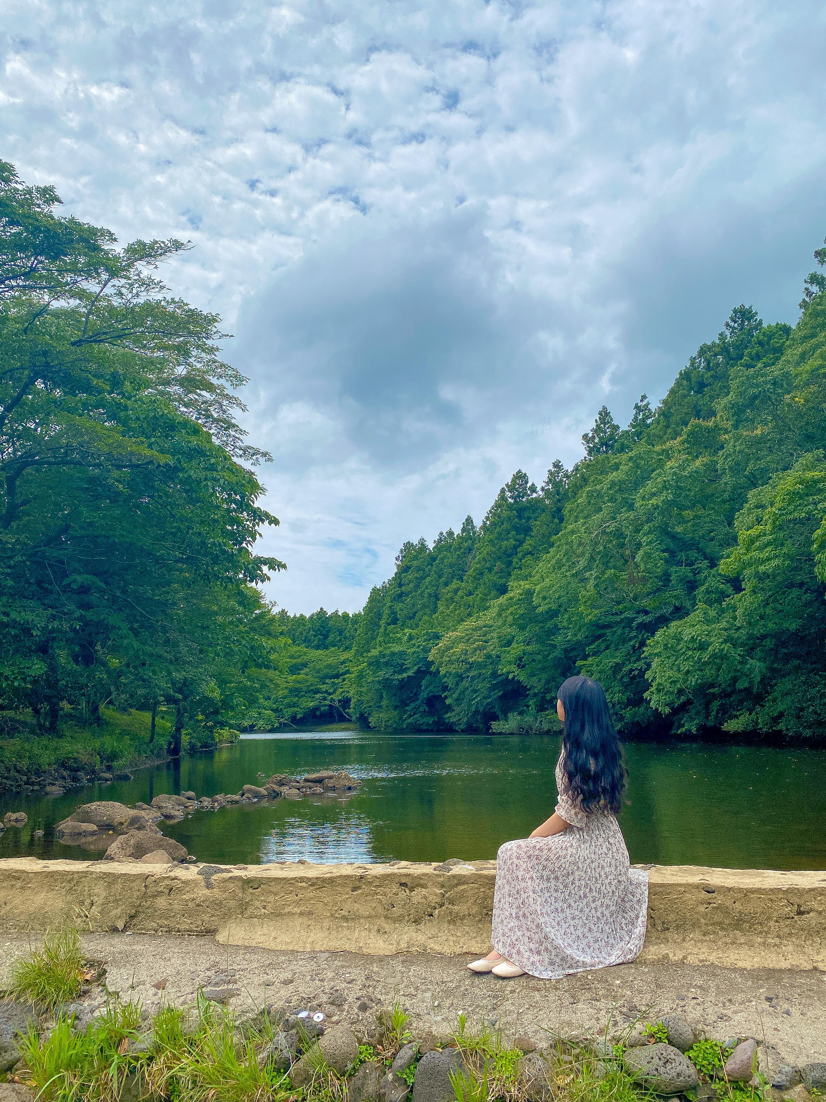 둑길 기준 왼쪽 오른쪽 풍경이 다르다.